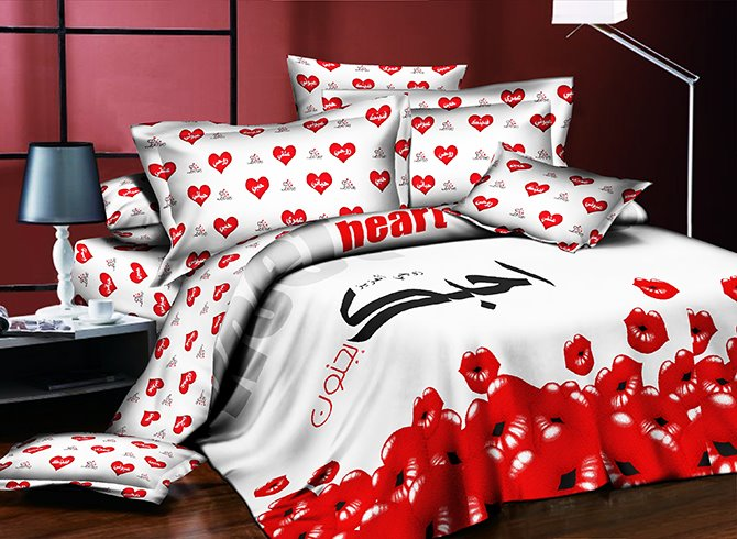 Sexy 3D Red Lips Printing 4-Piece Polyester Duvet Cover Sets