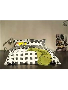 Modern Plaid and Geometric Design 4-Piece Duvet Cover Sets