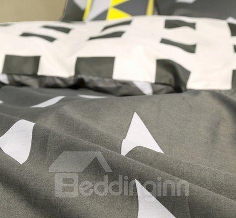 Modern Plaid and Geometric Design 4-Piece Duvet Cover Sets