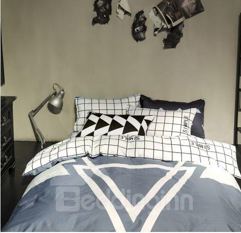 Plain Plaid and Geometric Style 4-Piece Duvet Cover Sets