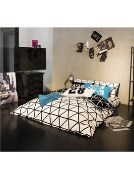 Classical White and Black Geometric Printing 4-Piece Duvet Cover Sets