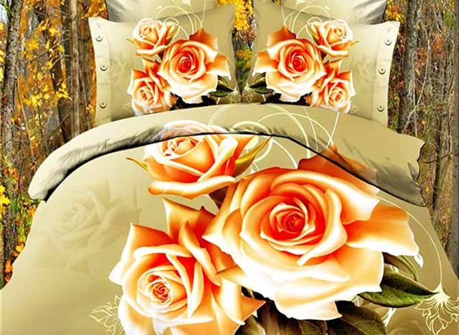 Three Light Apricot Roses Printing Polyester 4-Piece Duvet Cover Sets