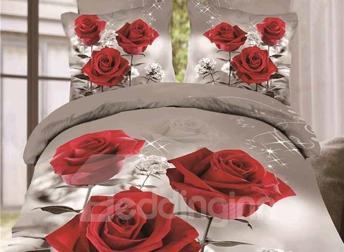 Beautiful Three Red Roses Printing 4-Piece Duvet Cover Sets 11676768