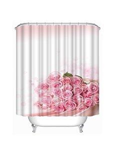 Elegant Pink Flowers Print 3D Shower Curtain
