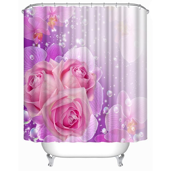 Elegant Rosa Champagne Print 3D Shower Curtain