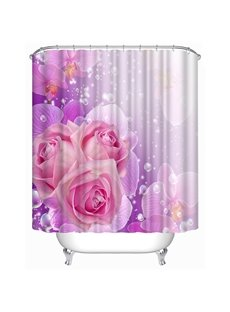 Elegant Rosa Champagne Print 3D Shower Curtain