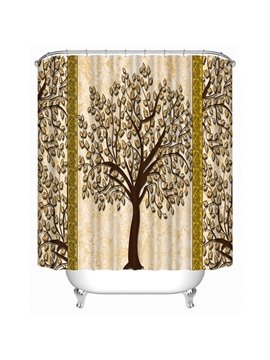 Simple Yellow Tree Print 3D Shower Curtain