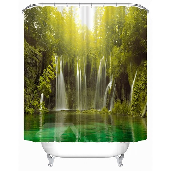 Light through the Waterfall Print 3D Shower Curtain