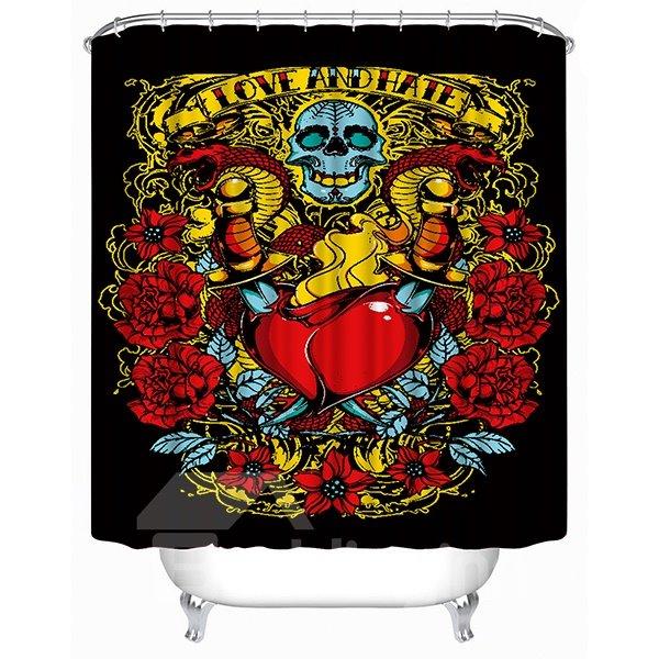 Horrific Skull and Hurt Red Heart Print 3D Shower Curtain