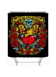 Horrific Skull and Hurt Red Heart Print 3D Shower Curtain