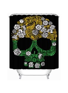 Cult Skull with Flower Print 3D Shower Curtain