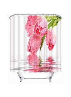Classic Pink Tulips Print 3D Shower Curtain