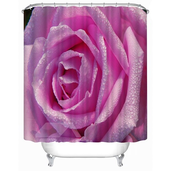 Romantic Full-Blown Rose Print 3D Shower Curtain