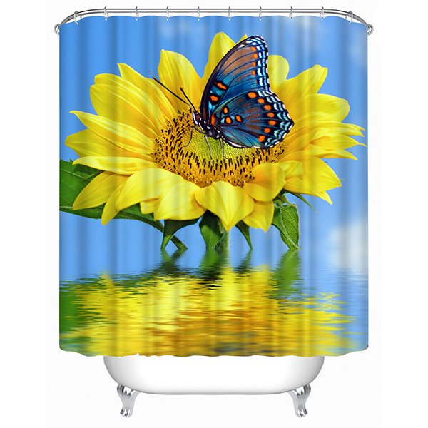 Butterfly and Sunflower Print 3D Shower Curtain