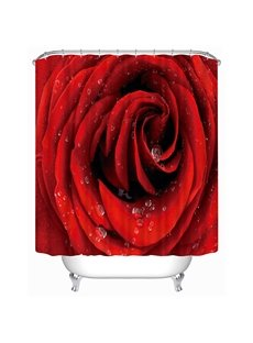 Detail of Red Rose Print 3D Shower Curtain