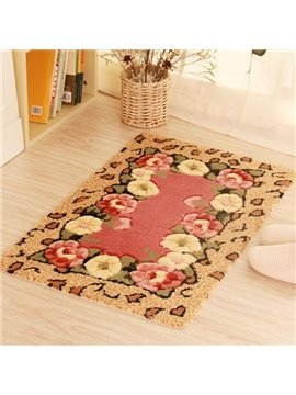 Rectangle Beautiful Flowers Pattern for Bathroom or Porch Doormat