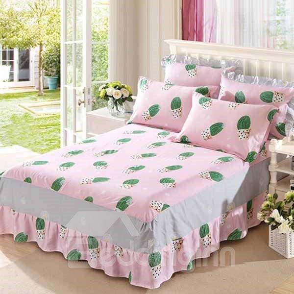 Green Cactus Printing Pink Cotton 3-Piece Bed Skirt Set