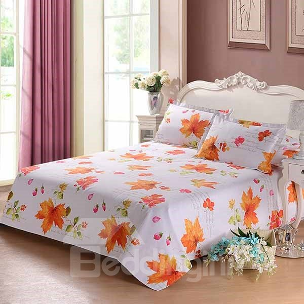 Graceful Apricot Maple Leaves Printed Cotton Sheet