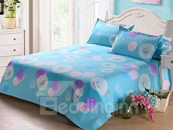 White Dandelion Printed Blue Cozy Cotton Sheet