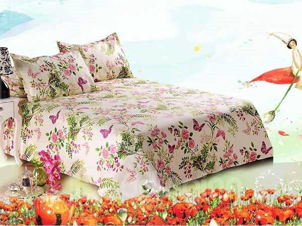 Purple Butterflies Flying among Pink Flowers Cotton Printed Sheet