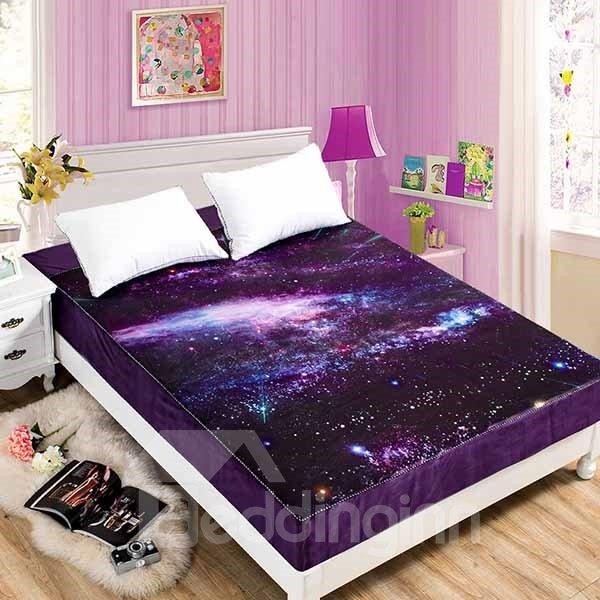 Shining Starry Galaxy Coral Fleece Purple Fitted Sheet