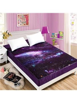 Shining Starry Galaxy Coral Fleece Purple Fitted Sheet