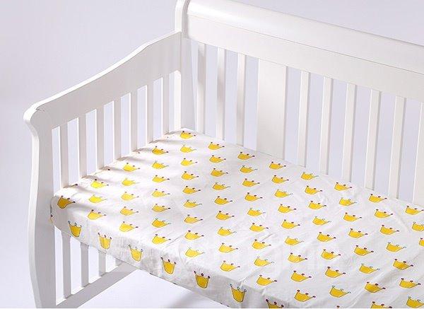 Little Crown Pattern 100% Cotton Baby Crib Flat Sheet