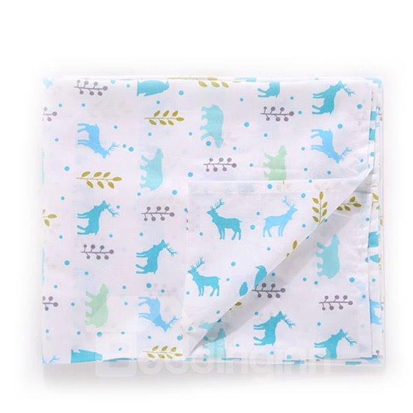 Cute Moose Pattern 100% Cotton Baby Crib Flat Sheet