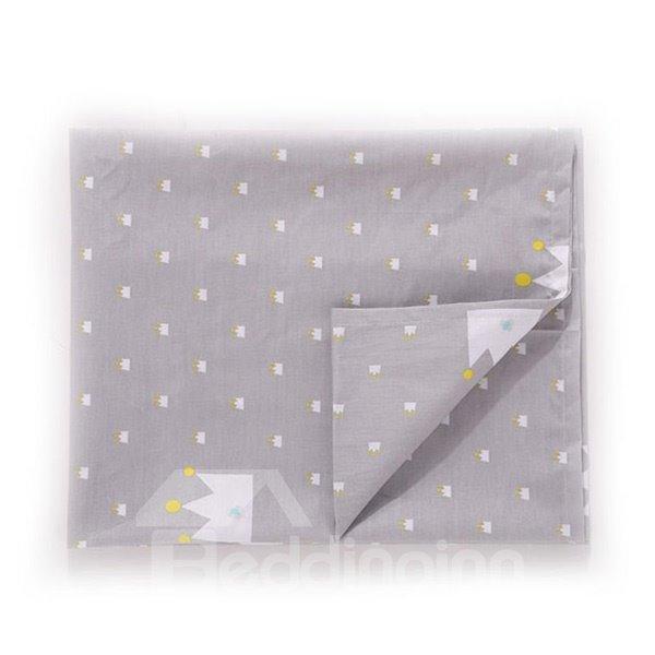 Gray Polka Dot Pattern 100% Cotton Baby Crib Flat Sheet