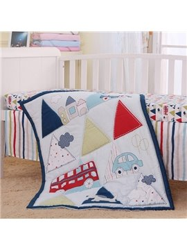 Triangle Pattern 4-Piece 100% Cotton Baby Crib Bedding Set