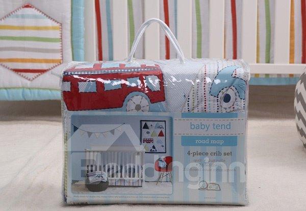 Triangle Pattern 4-Piece 100% Cotton Baby Crib Bedding Set