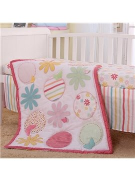 Lovely Pink Flower Pattern 4-Piece 100% Cotton Baby Crib Bedding Set