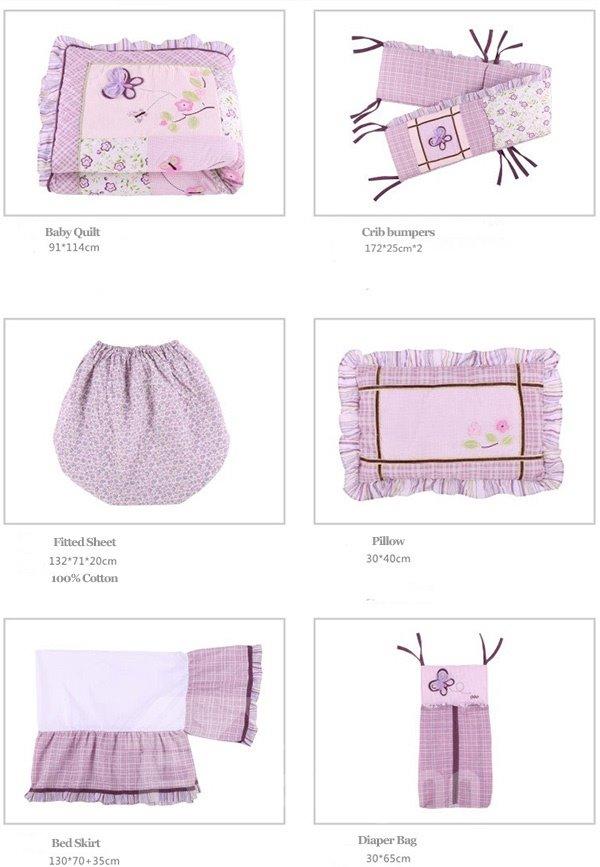Romantic Purple Butterflies 8-Piece Cotton Baby Crib Bedding Set