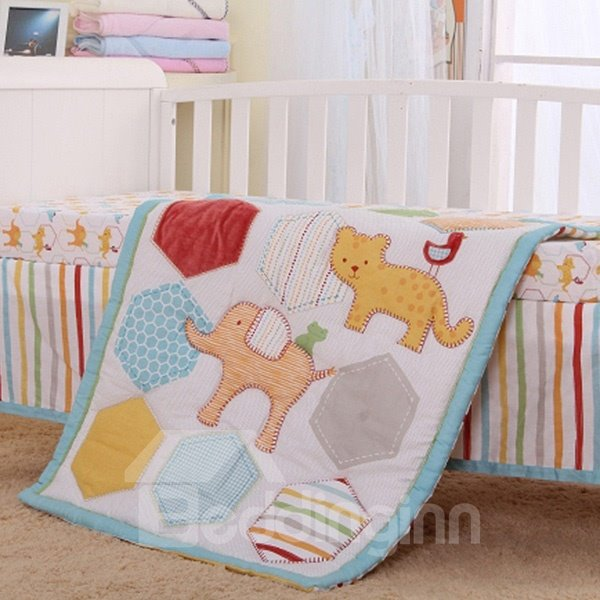 Creative Animals Pattern 4-Piece 100% Cotton Baby Crib Bedding Set