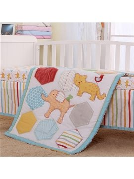 Creative Animals Pattern 4-Piece 100% Cotton Baby Crib Bedding Set