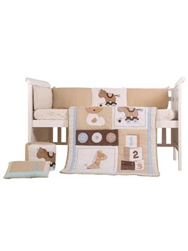 Bear and Horse Pattern 6-Piece Cotton Baby Crib Bedding Set