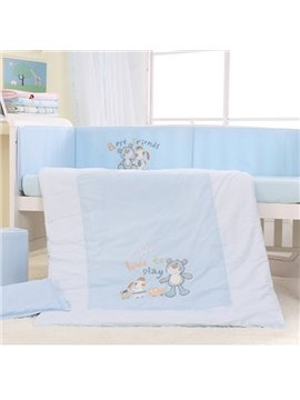 Light Blue Good Friends Print 7-Piece Cotton Baby Crib Bedding Set