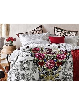 Luxury Colourful Flowers 4-Piece Duvet Cover Sets