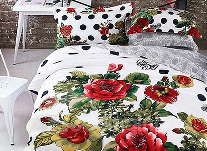 Graceful Flowers Printing 4-Piece Duvet Cover Sets