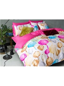 Cute Lanterns Printing Design 4-Piece Duvet Cover Sets