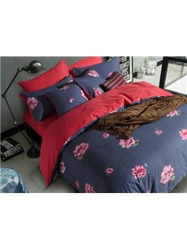 Beautiful Flowers Printing Design 4-Piece Duvet Cover Sets