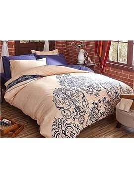 Attractive Cream-Coloured Printing 4-Piece Duvet Cover Sets