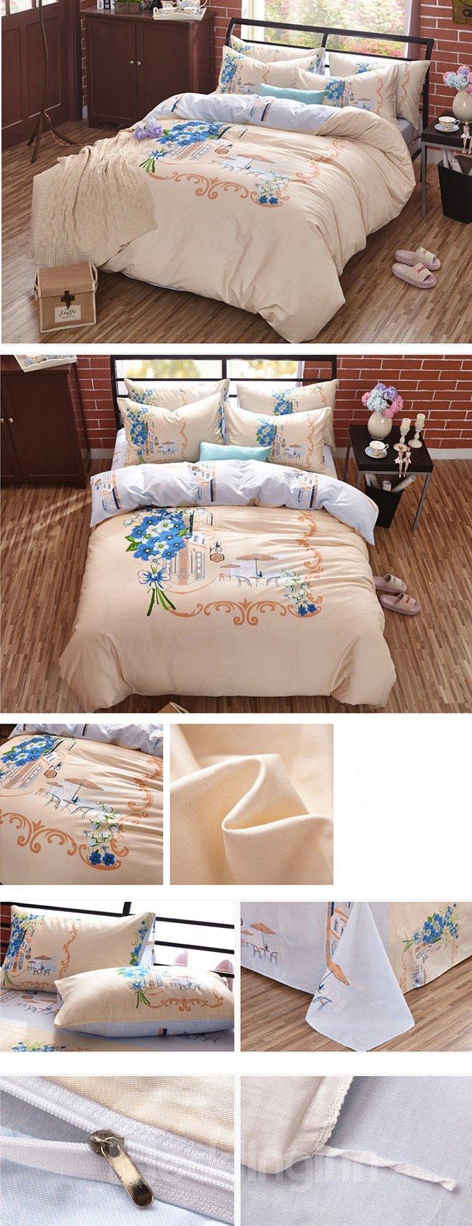 Plain Beautiful Flower Printing 4-Piece Duvet Cover Sets