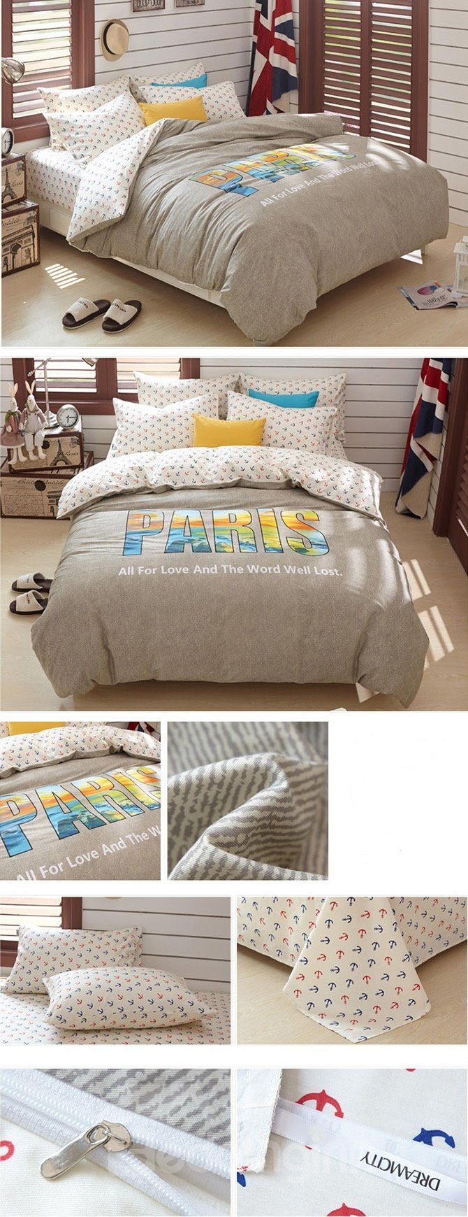 Simple Camel Paris Printing 4-Piece Duvet Cover Sets