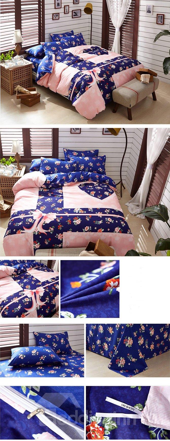 Plain Pink Flowers 4-Piece Duvet Cover Sets