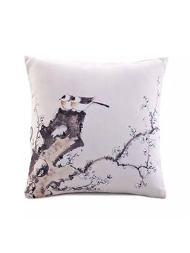 Chinese Style Bird Stand on Pine Tree Paint Throw Pillow Case