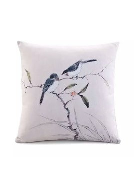 Two Lovely Birds Standing on the Tree Paint Throw Pillow Case