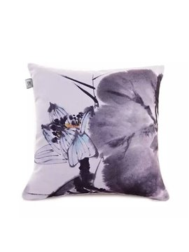 Chinese Ink Painting Lotus Pattern Throw Pillow Case