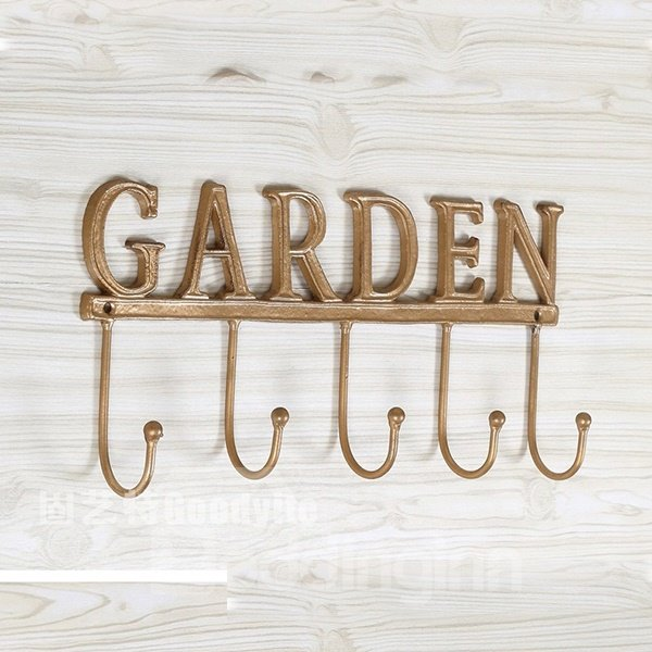 Simple Rural Wind Golden Iron Wall Hook with Garden Letter