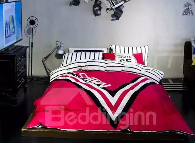 Modern Pink Geometric Cotton 4-Piece Duvet Cover Sets